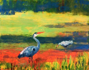 """""""Blue Herons,"""" an oil painting by PAA President Doris Hooker, will be exhibited in the Spring Show."""
