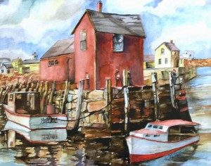 """Norma Weber won Best of Show for her watercolor, """"Rockport."""""""