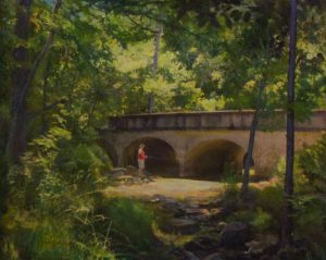 """Richard Thomas' oil painting, """"Fishing at Linear Park,"""" was the 2014 Penfield Scene winner."""
