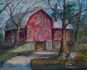 "Anne Sakmyster's watercolor, ""Barn on Scribner,"" won the Penfield Scene Award."