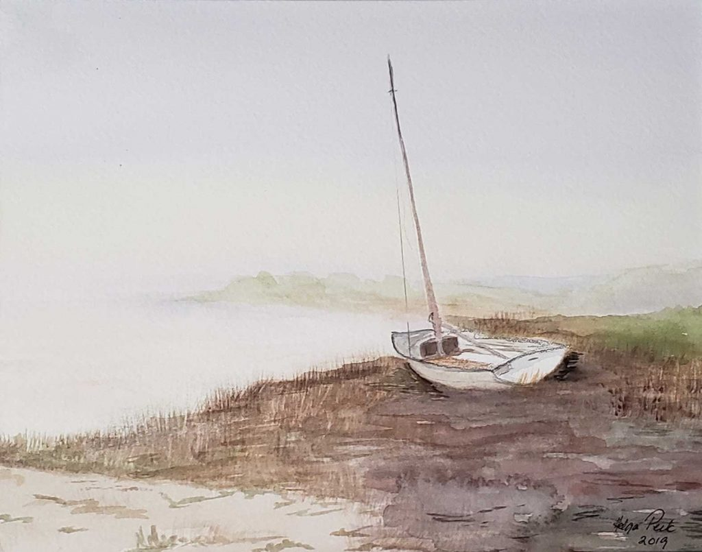 """Boat in Early Morning Mist"" by Helga Peck"