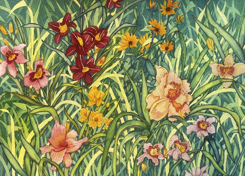 """Interlopers in the Daylily Garden"" by Helen Presberg"