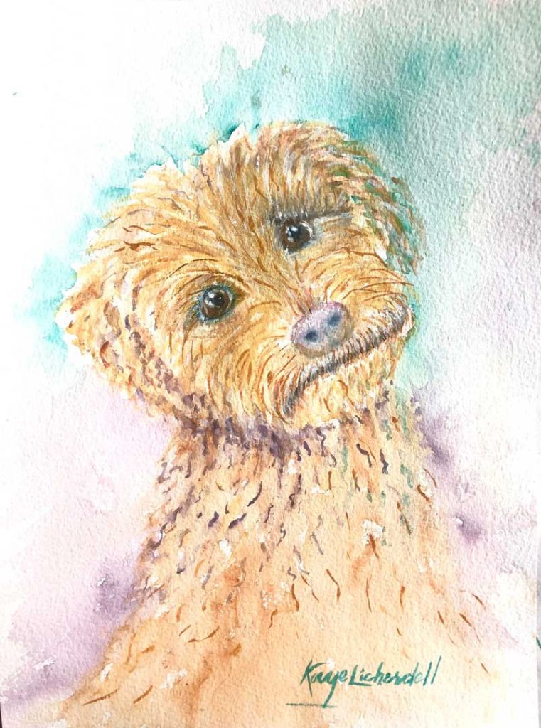 """""""Kermit the (Confused) Dog"""" by Kaye Licherdell"""